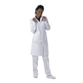 Bata señora blanca con cierre de botones 100% algodón color blanco (B6111)