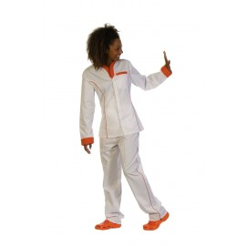 Bata entallada en colores vivos blanco&naranja ( B6200)
