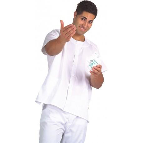 Casaca cierre con botones y manga corta en color blanco, verde y celeste (B9400)