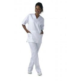 Casaca 100% algodón de manga corta color blanco (B9211)
