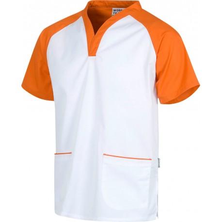 Casaca bicolor blanco naranja (B9700)
