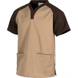 Casaca manga corta bicolor ocre - marrón (B9700)