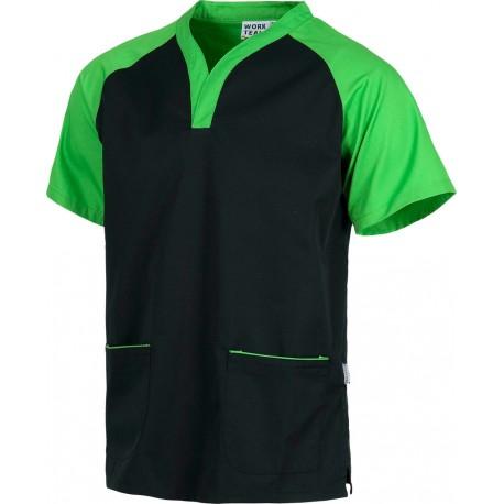 Casaca manga corta bicolor negro - verde (B9700)