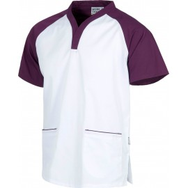 Casaca manga corta bicolor morado - blanco (B9700)