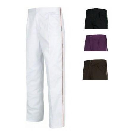 Pantalón clínico bicolor con elástico en cintura (B9350)