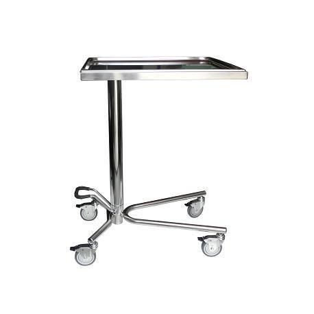 Mesa para instrumental modelo Mayo acero inoxidable con sistema de elevación hidráulico y bandeja extraíble (BG-128)