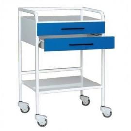 Mesa auxiliar para especialidades medicas acero 2 cajones