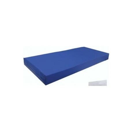 Colchón viscoelástico. Con funda sanitaria azul, 90x190 cm