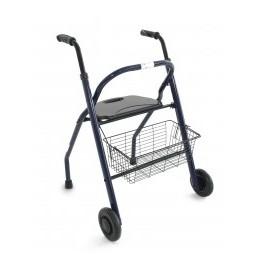 Andador 2 ruedas plegable con asiento, respaldo y cesta (ORT21751)