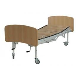 Cama con manivela de 4 planos con piecero, cabecero y ruedas (BG-350)