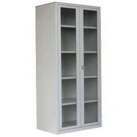 Armario puertas abatibles de cristal enmarcadas con 4 baldas