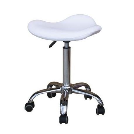 Taburete tapizado ergonomico, elevacion a gas con 5 ruedas, base cromada. Alta calidad (QM9927-NA)