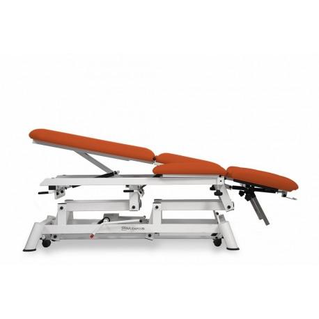 Camilla hidráulica para osteopatía 9 cuerpos mobercas, ruedas escamoteables y reposabrazos (CH-2190-ARPC)