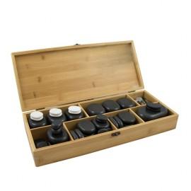 Piedras calientes de Basalto para terapias, en caja de madera, moldeadas a mano. (SIL-WKS01X)