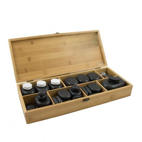 Piedras calientes de Basalto para terapias, en caja de madera, moldeadas a mano.