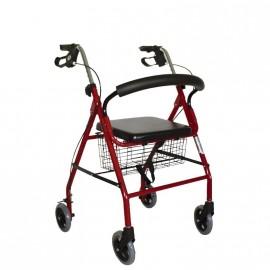 Andador de aluminio plegable con ruedas, asiento, cesta y freno