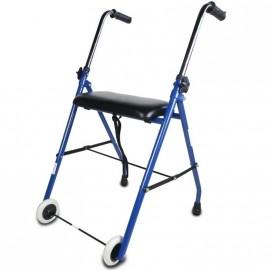 Andador plegable para ancianos con dos ruedas y asiento