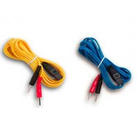 Pareja de cables para electroestimuladores MIO-Care. (azul+amarillo)