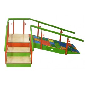 Escalera 3 peldaños con rampa infantil