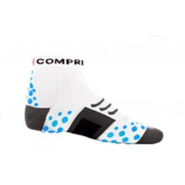 Calcetín ultratécnico Alto Compressport color Blanco-Azul