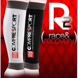 Compressport R2 - Media de compresión pantorrillera - Color blanco o negro