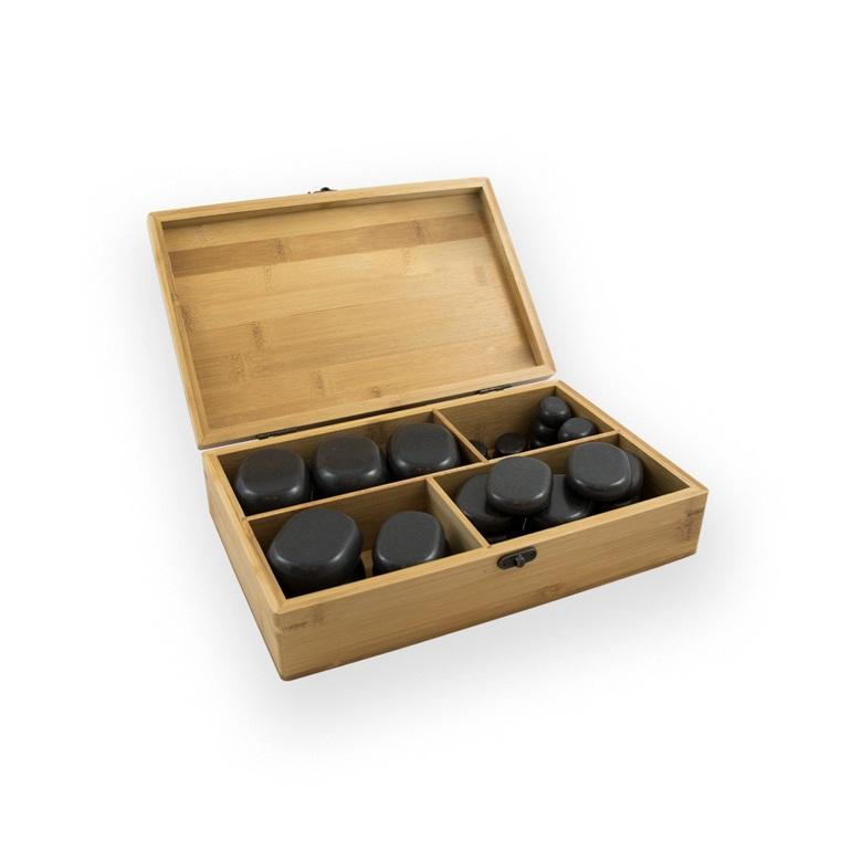 36 piedras con caja de madera